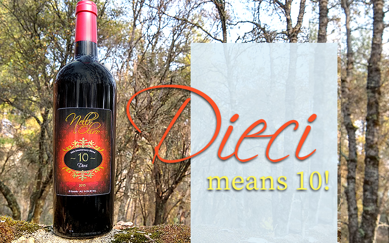 Dieci, a wine that honors Nello Olivo's tenth vintage anniversary